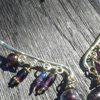 Purple and Gold Beaded Earring Ear Cuffs