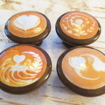 "4 Latte Cabinet Knobs Drawer Pull Set, Latte Art, Handmade Coffee Cafe Latte Cappuccino 1.5"" Pull Handles, Made To Order"