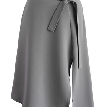 Bravo Split Hem Midi Skirt in Grey