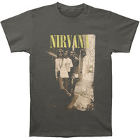 Nirvana Men's  Brick Wall Alley Photo T-shirt Charcoal Rockabilia