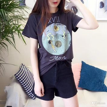 2018 women Summer fashion CD luxury Brand for men T-shirt cartoon letter Tarot round tshirt Runway Tees Casual cotton Top