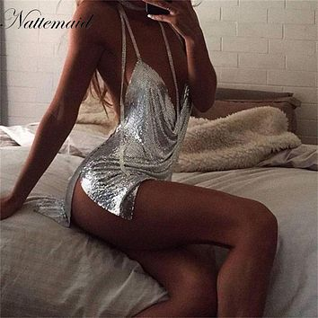 NATTEMAID Birthday Party Dress 2017 Women Sexy Nightclub  Sliver Metal dresses Spaghetti Strap sequins mini vestidos