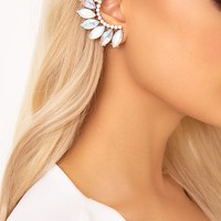 Brigid Silver Iridescent Jeweled Ear Cuff