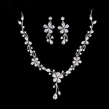 Women Bridal Wedding Jewelry Sets Charm Crystal Flower Drop Pendant Necklace And Earrings Sets Shininy Cubic Zirconia CZ