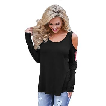 Rose Embroidered Long Sleeve Black Cold Shoulder Top