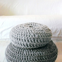 Floor Cushion Crochet - Thick Cotton -   Light Gray