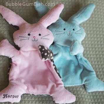 "PERSONALIZED - Bunny Rabbit Pink Plush Softie ""Flat Little Bunny Rabbit"""