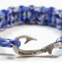Cobra Braid Fish Hook Bracelet (Blue Camo)