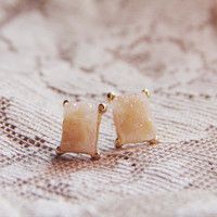 Sweet Druzy Earrings in Peach