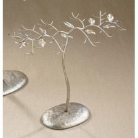 Metal Jewelry Stand Tree with an Antique Silver & Gold Finish
