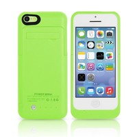 TechPro Apple iPhone 5C Rechargeable Backup Battery Case. Intergrated Lightning Port For Easy Access And Data Transfer. [Protective Design - September 2013] - Green