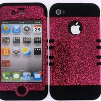 Apple IPhone 4 4S 3 in 1 Hybrid Case Cover + Skin Kool Kase Rocker by MandMWireless Glitter Hot Pink BK-A042-E