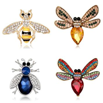 Fashion Crystal Bee Brooch For Women Brooch Collar Pin Corsage Rhinestone Ant Insect Animal Brooch Badges Jewelry Accessories