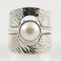 Pearl Sterling Silver Band Ring