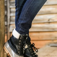 Cozy In The Cape Boots-Black