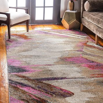 0142 Pink Over-Dyed Contemporary Area Rugs