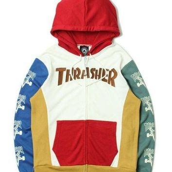 Thrasher Fashion Hoodies Winter Zippers Hats Jacket