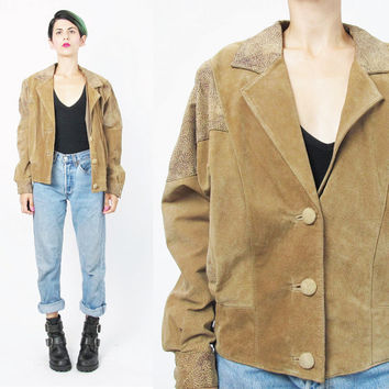 80s Brown Suede Leather Jacket Slouchy Vintage Leather Biker Jacket Rocker Cropped Suede Bomber Jacket Unisex Brown Suede Moto Jacket (M)