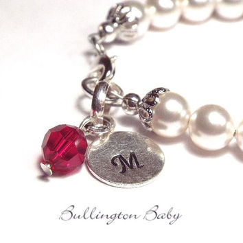 Baby Bracelet, Girls Bracelet, Initial and Birthstone Bracelet,, Baby Pearls, Baby Jewelry, Girls Jewelry, Initial  Bracelet, (B43)