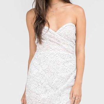 Live for the Lace Strapless Mini Dress