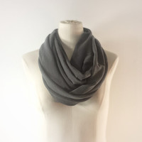 CHARCOAL GRAY Infinity Scarf - Pepper Gray Eternity Scarf  - Dark Gray Loop Scarf