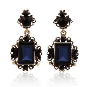 New fashion dark blue color big crystal vintage drop earrings for women dangling earrings brincos grandes party accessories