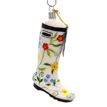Holiday Ornaments WHITE FLOWER BOOT Glass Hand Painted 37590701