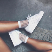 Perfect White Fishnet Mesh Socks