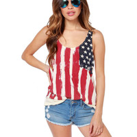 Women's Sexy American Flag Tank Top USA Patriotic Darling Biker Vest Tees S-XXL