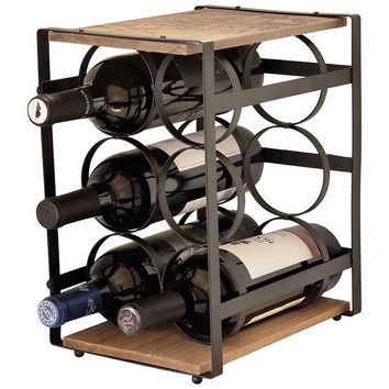 Iron And Wood 6 Bottle Wine Rack – Wine Stand – Wine Bottle Holder