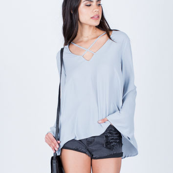 Criss Cross Chiffon Blouse