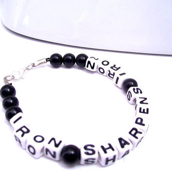 Men's Christian Bracelet, Iron Sharpens Iron, Spiritual Bracelet