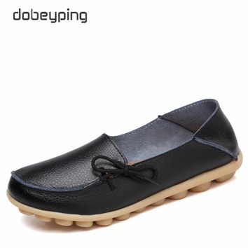 dobeyping 2018 New Spring Summer Women Shoes Genuine Leather Shoes Woman Lace-Up Female Flats Soft Ladies Loafers Big Size 35-44