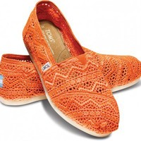 TOMS Neon Coral Orange Crochet Women's Classics Slip-On Shoes,