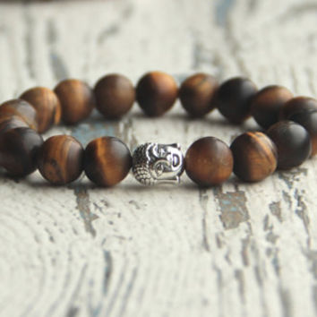 Buddha bracelet Mens Gift Tibetan bracelet Buddhist Tiger eye matte beads gift for Buddhist brown bracelet meditation yoga bracelet beaded