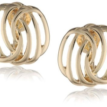Napier Gold-Tone Twisted Clip-On Earrings