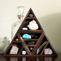one of a kind handmade triangle wood wall shelf with crystal and mineral gemstone instant collection