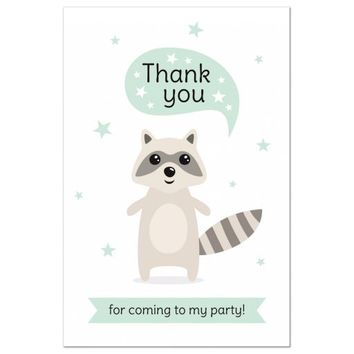 Cute raccoon birthday thank you postcard | thank you for coming to my party