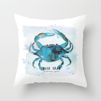 blue crab Throw Pillow by Sylvia Cook Photography