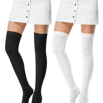 ONETOW I wish Women's Fashion Extra Over Knee High Thigh High Cotton Socks