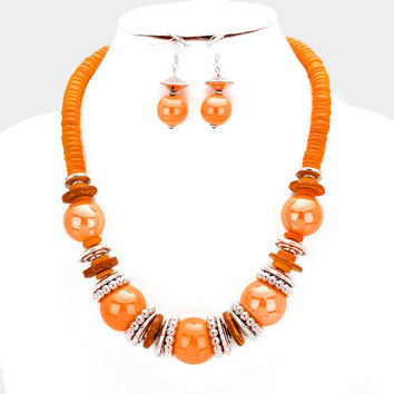 Chunky Orange & Silver Bead wood disc cluster bib necklace and earring set