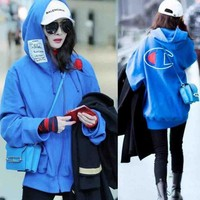 Champion Fashion Embroidery Logo Hooded Sport Top Sweater Sweatshirt Hoodie Blue