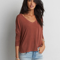 AEO Soft & Sexy Drop Shoulder T-Shirt, Brown