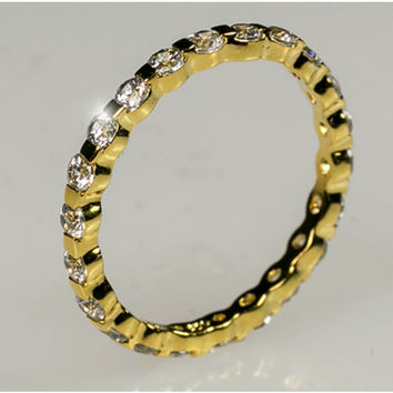 Kessie Eternity Stackable Gold Ring | 2ct | Sterling Silver | 18k Gold