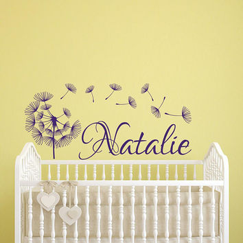 Dandelion Wall Decal Girl Name- Personalized Name Wall Decal Girls Room- Name Wall Decal Girl with Dandelion Decor- Dandelion Vinyl Decal