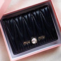 MIU MIU New fashion leather wallet purse clutch bag women Black