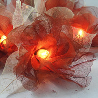 20 Brown Carnation Flower Fairy STRING LIGHTS by marwincraft