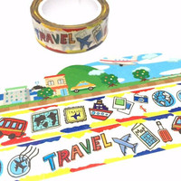 travel drawing washi tape 7M cute travel icon plane camera flight map Travel planner sticker love travelling holiday trip masking tape gift