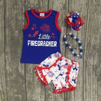new baby Summer clothing cotton little firecracker star royal blue boutique unicorn shorts outfits girls July 4th ruffles set
