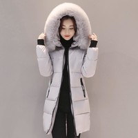2017 fur collar big size 3XL winter jacket women long warm outerwear womens coat parka wadding padded parkas
